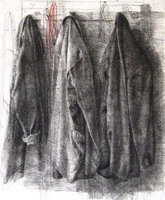 Safet ZEC, Plašči / Coats, 2005 – 2006, etching-drypoint, 1000 x 700 x 10