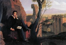 Posthumous Portrait of Shelley Writing Prometheus Unbound 1845 Joseph Severn [Public domain], via Wikimedia Commons