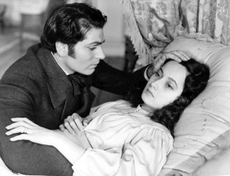 Photo of Sir Laurence Olivier and Merle Oberon from the 1939 film Wuthering Heights.